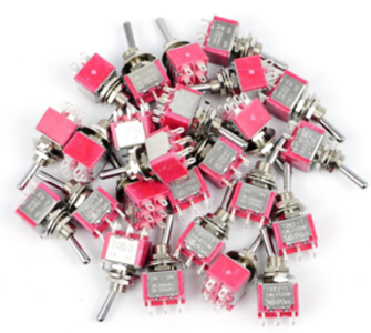 Bulk Pack of 25 Mini-Toggle Switches DPDT