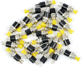 Bulk Pack of 25 Push to Make Switches in Yellow