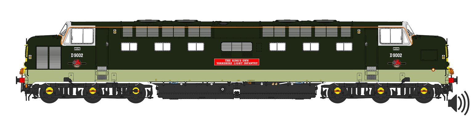 'Kings Own Yorkshire Light Infantry' Class 55 D9002 Deltic in Two Tone Green Livery (As Preserved) - DCC SOUND