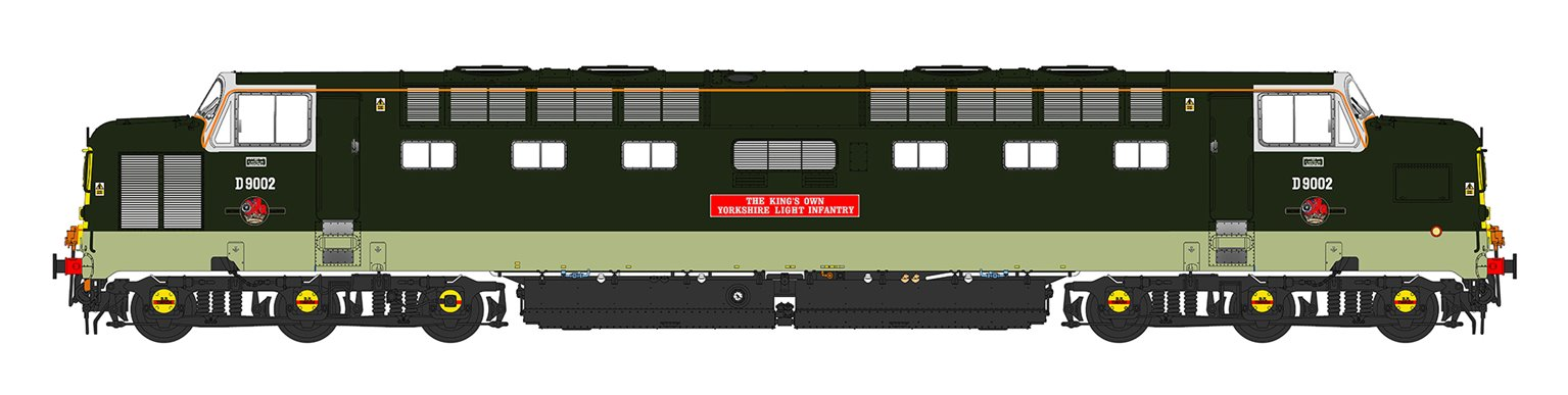'Kings Own Yorkshire Light Infantry' Class 55 D9002 Deltic in Two Tone Green Livery (As Preserved)