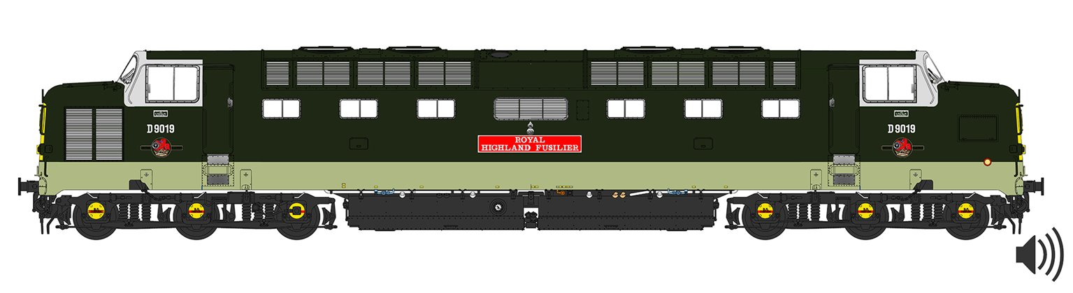 'Royal Highland Fusilier' Class 55 D9019 Deltic in BR Two Tone Green (As running post 1965) - DCC SOUND