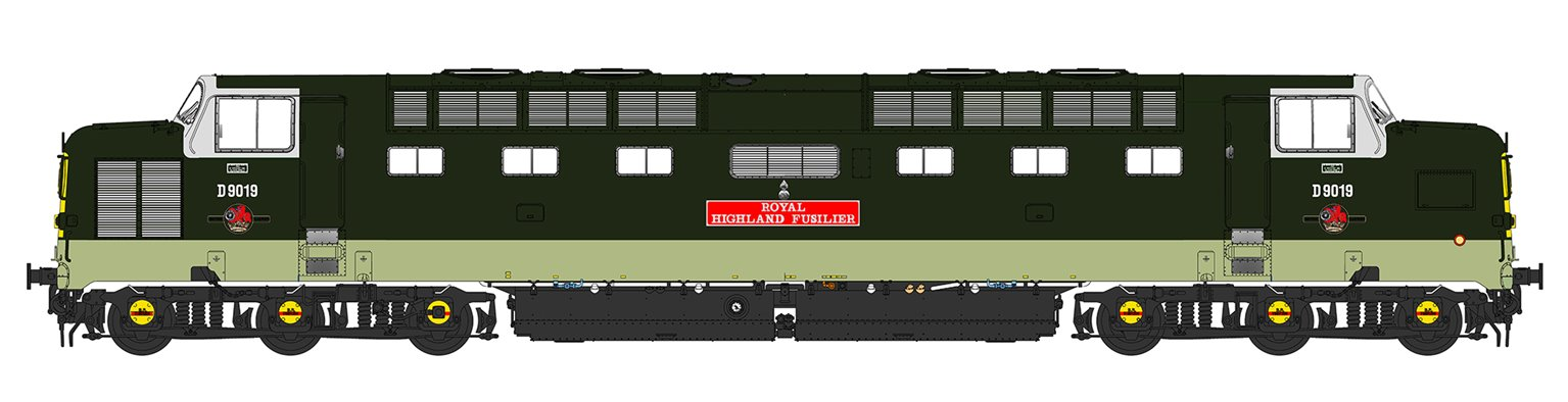 'Royal Highland Fusilier' Class 55 D9019 Deltic in BR Two Tone Green (As running post 1965)