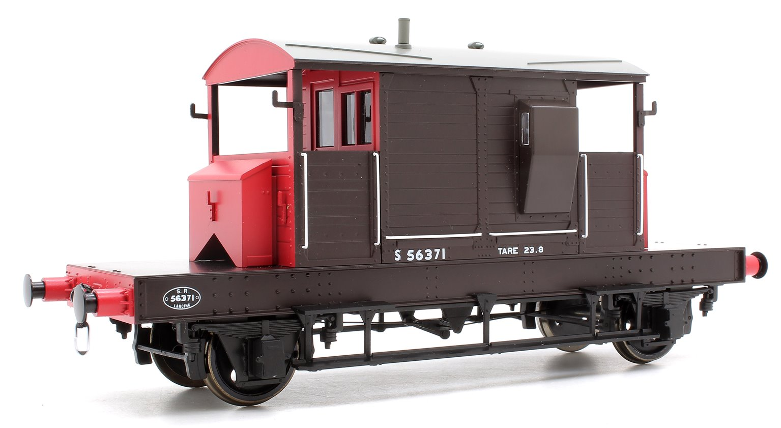 Pill Box Brake Van S56371 S R Brown/Red small letters (Uneven Plank)