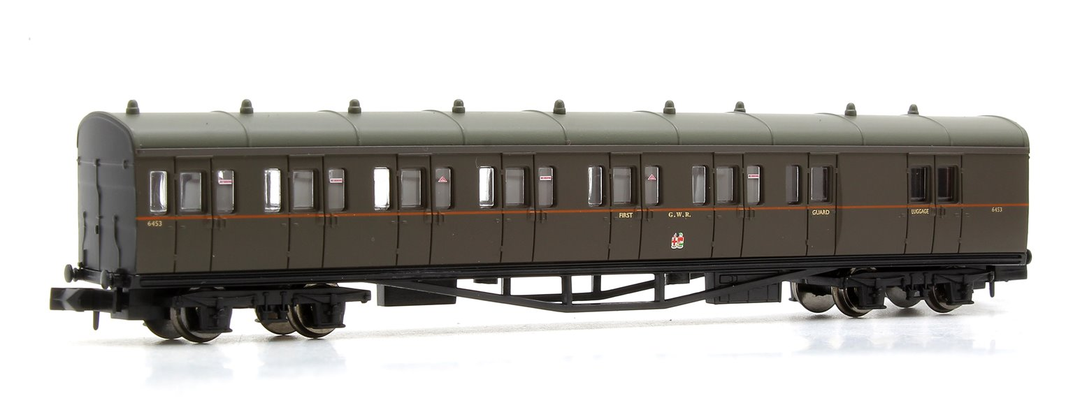 B Set Coach Pack GWR Twin Cities Brown orange line 6453 & 6454