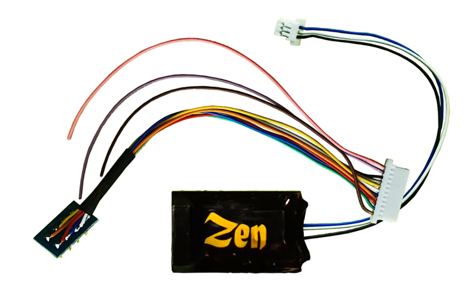 Zen Black Decoder. Midi-sized decoder with 8-pin harness. High Power. 6 Functions.
