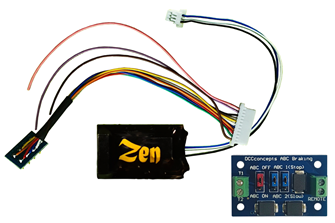 Zen Black Decoder. Midi-sized decoder with 8-pin harness. High Power. 6 Functions. Includes 1x ABC module