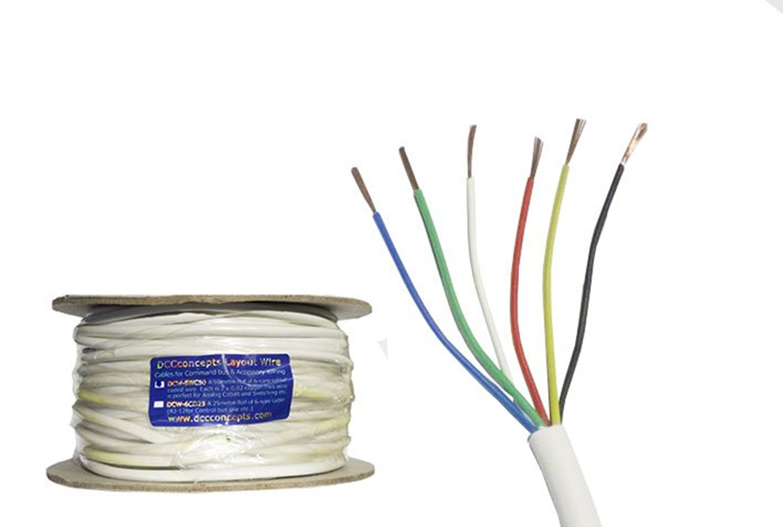 Accessory Bus Wire 50m 7x 0.2mm 6 Core in White Sheath