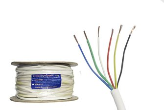 Accessory Bus Wire 50m 7x 0.2mm 6 Core in White Sheath