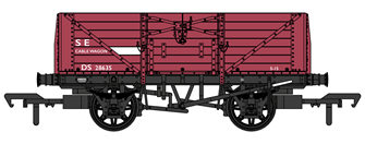 SECR 1355 7 plank Open Wagon - BR S&T Dept red #DS28635