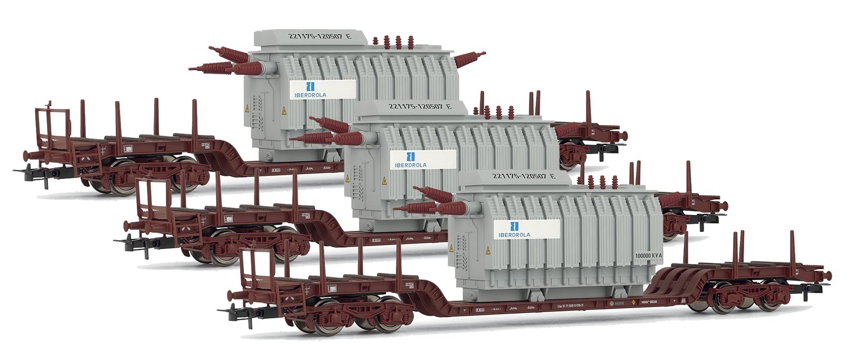 Set of 3 Renfe Depressed Centre Flat Wagons with Transformer Load 'Iberdrola'
