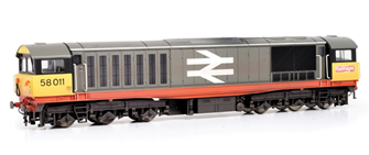 Class 58 011 BR Railfreight (Red Stripe) Diesel Locomotive - Weathered and Faded Finish