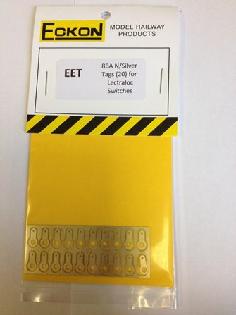 8BA Nickel Silver tags for 'Lectralok' Switches (Pack of 20)