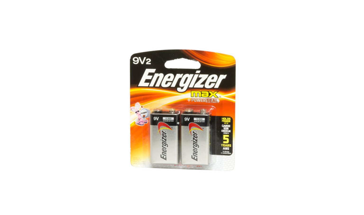 9 Volt Energizer Max Powerseal Batteries Pack of 2