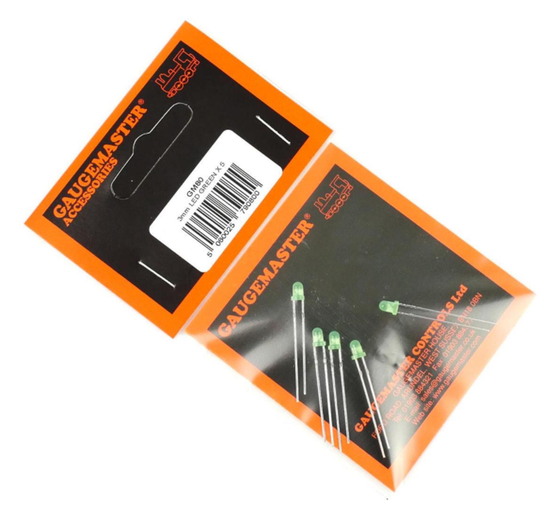Green 3mm 12v LEDs (5)
