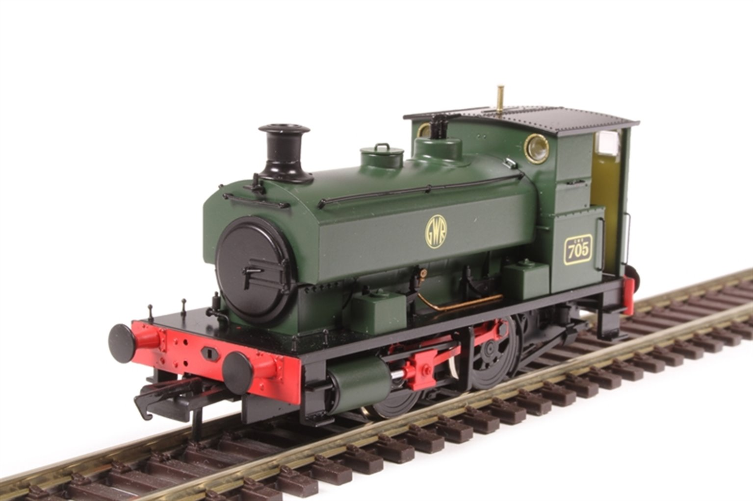 """Andrew Barclay 0-4-0ST 14"""" 2047 '705' in GWR green with shirtbutton roundel"""