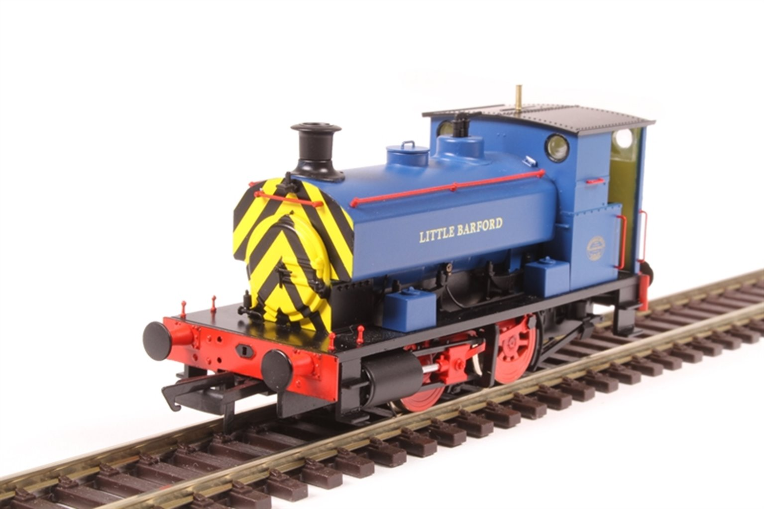 """Andrew Barclay 0-4-0ST 14"""" 2069 """"Little Barford"""" in Acton Lane Power Station blue with wasp stripes"""