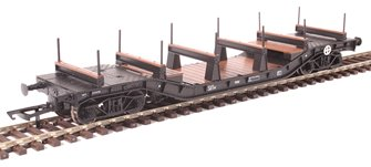 Warwell wagon 50t with diamond frame bogies KDE314159 in BR black with S&T branding and steel/rail carriers