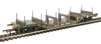 Warwell wagon 50t with diamond frame bogies DM721227 in BR Olive green with ELECTRIFICATION branding and steel/rail carriers
