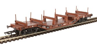 Warwell wagon 50t with diamond frame bogies DW160819 in BR brown with steel/rail carriers - weathered