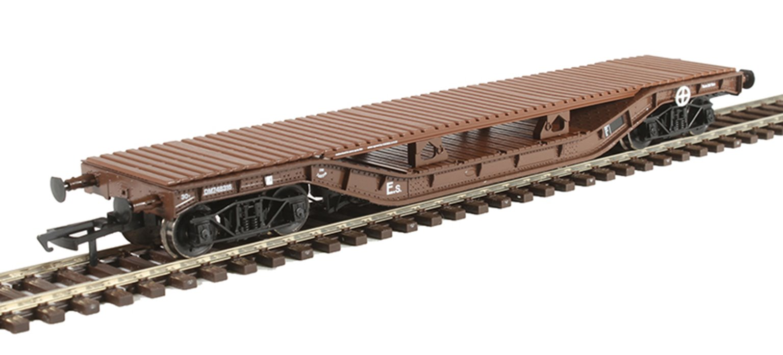 Warwell wagon 50t with diamond frame bogies DM748316 in BR brown with bolster deck conversion
