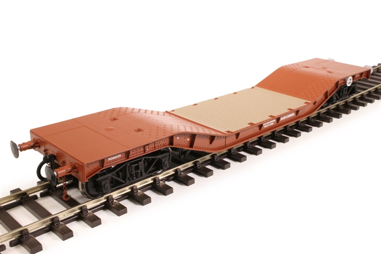Warwell wagon 50t with diamond frame bogies M360329 in BR gulf red