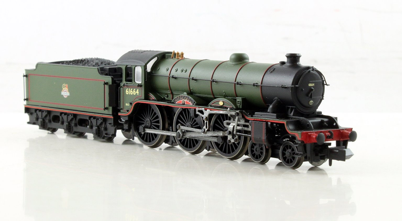 """Class B17 4-6-0 61664 """"Liverpool"""" in BR green with early emblem"""