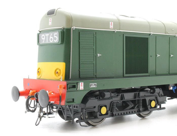 Class 20 in BR green with small yellow panels and 4-character headcodes
