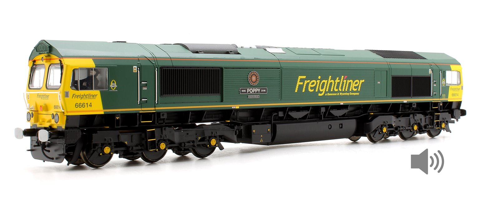 Class 66 614 'Poppy' Freightliner Diesel Locomotive DCC Sound