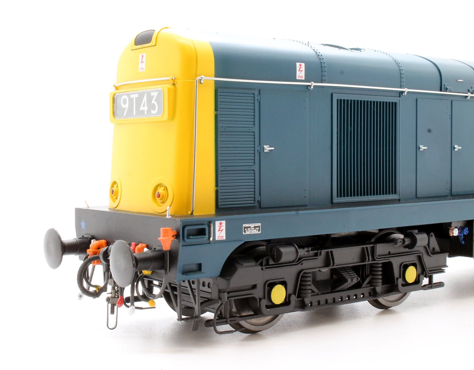 Class 20 in BR blue with full yellow ends; pre-TOPS style with double arrows on the cabsides and 4-character headcodes