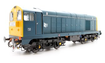 Class 20 in BR blue with full yellow ends; TOPS style with double arrows on the bodysides and 'domino' headcodes