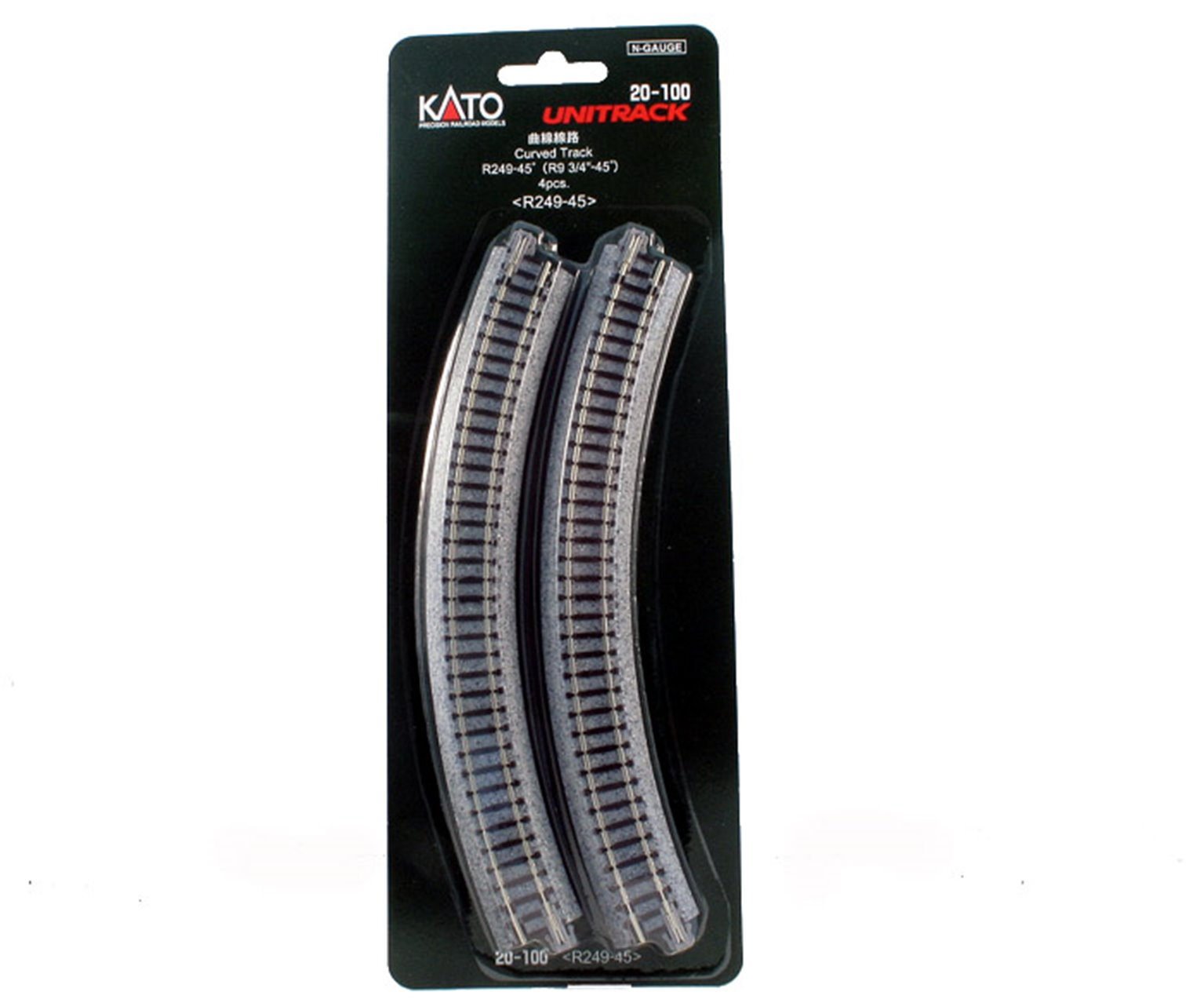 Kato 20-100 Ground Level Radius 249mm Curved Track 45 Deg.(4)