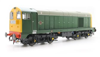 Class 20 in BR green with full yellow ends and 4-character headcodes