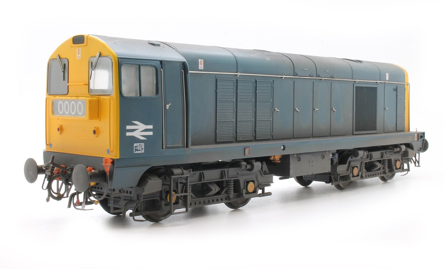 Class 20 in BR blue with full yellow ends; TOPS style with double arrows on the cabsides and '0000' headcodes - Weathered
