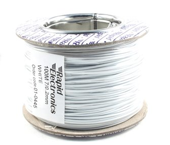 100M 7/0.2MM White Electrical Wire
