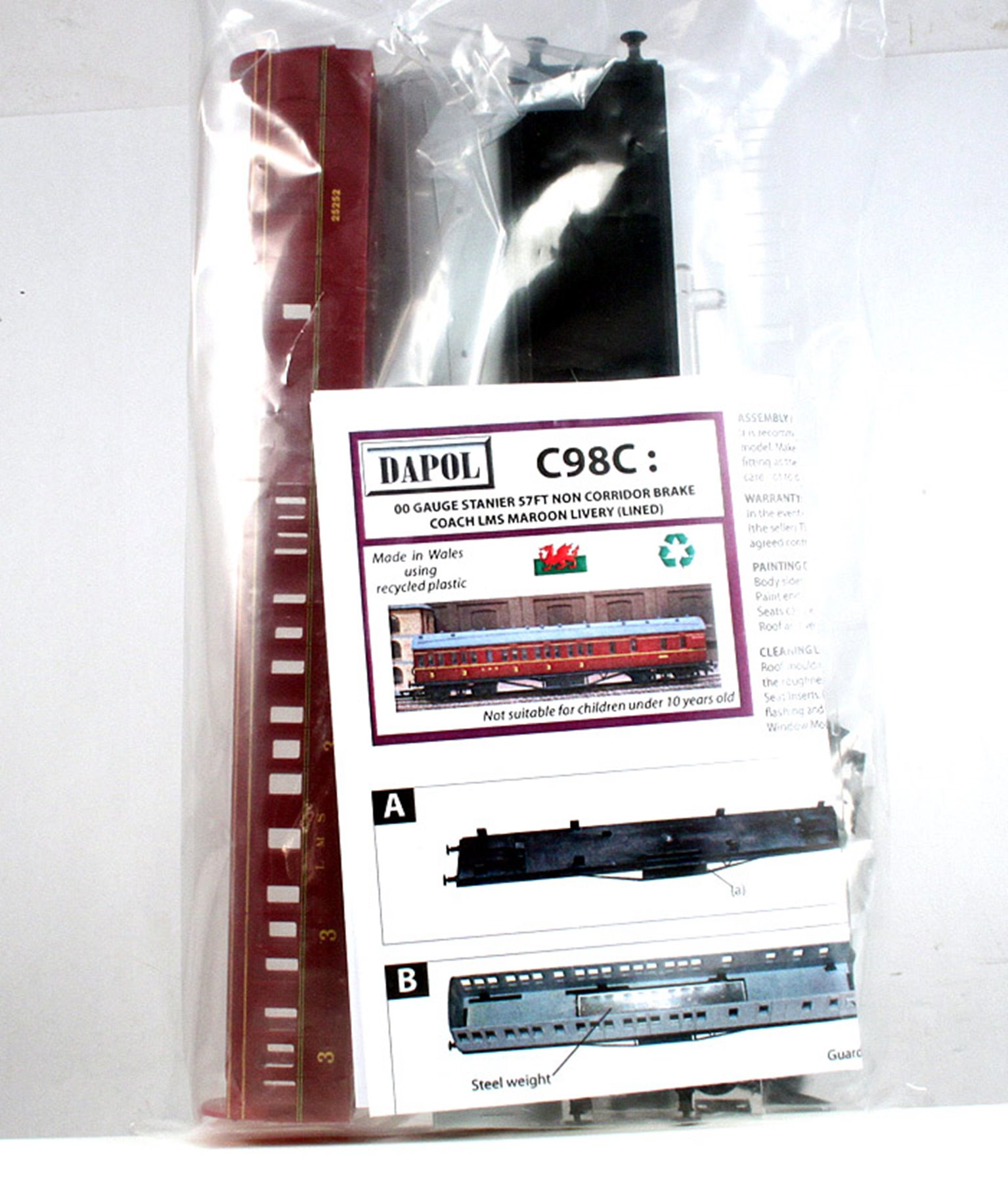 57ft Stanier Non Corridor Brake Composite Kit in LMS Maroon