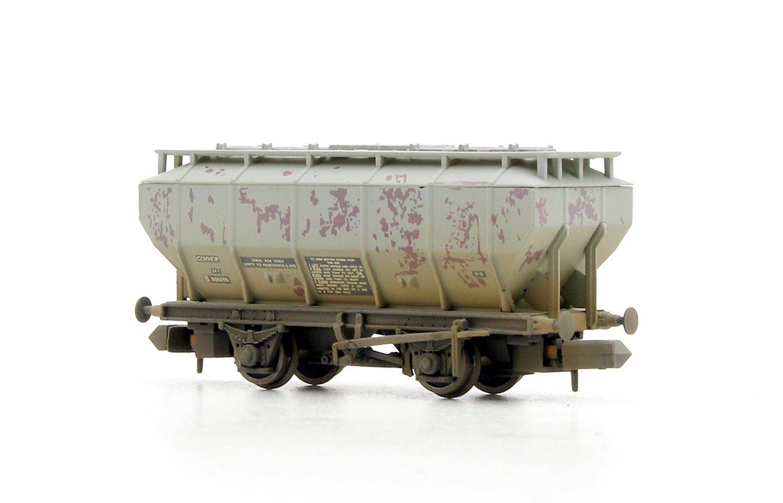 Covered Hopper Wagon 'Soda Ash' Light Grey Weathered
