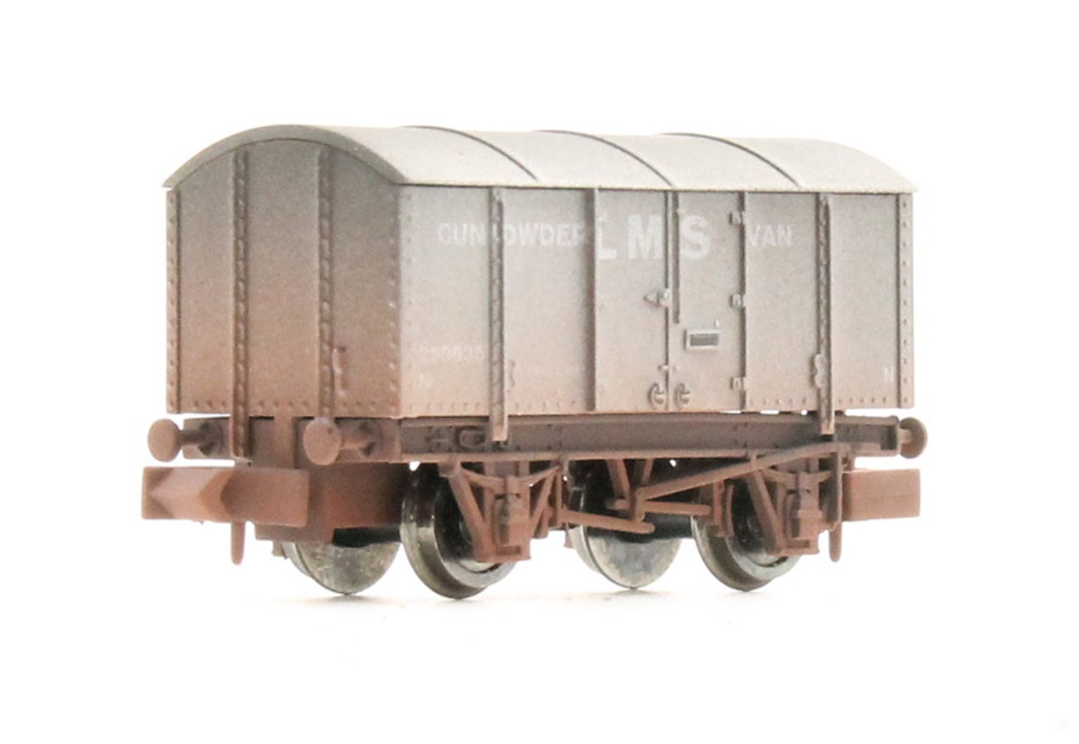 4-wheel Gunpowder Van 299035 in LMS Grey - weathered