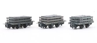 4 Wheel Slate Wagon (Pack of 3) - weathered Grey livery with slate load