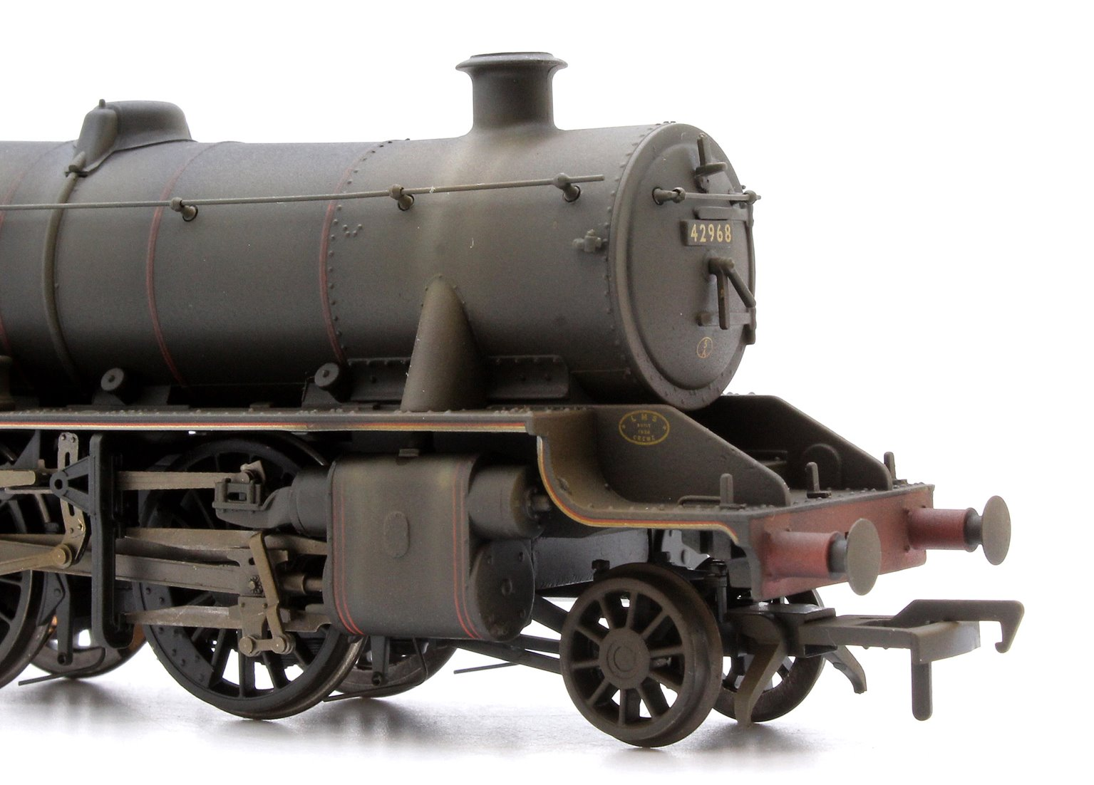 Custom Finished Stanier Mogul BR Lined Black Late Crest 2-6-0 Loco 42968 Weathered