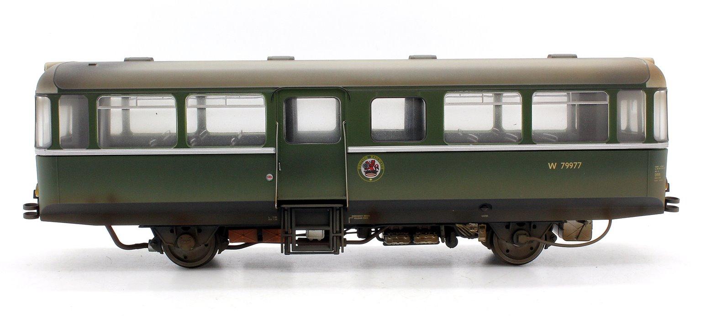 Custom Finished AC Railbus W79977 Dark Green Small Yellow Panels Weathered
