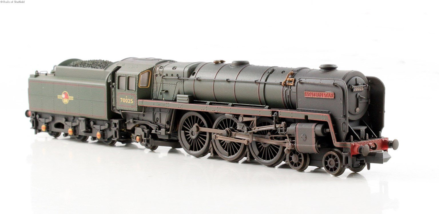 "Class 7MT Britannia 4-6-2 #70025 ""Western Star"" in BR green with late crest - weathered - DCC Fitted"