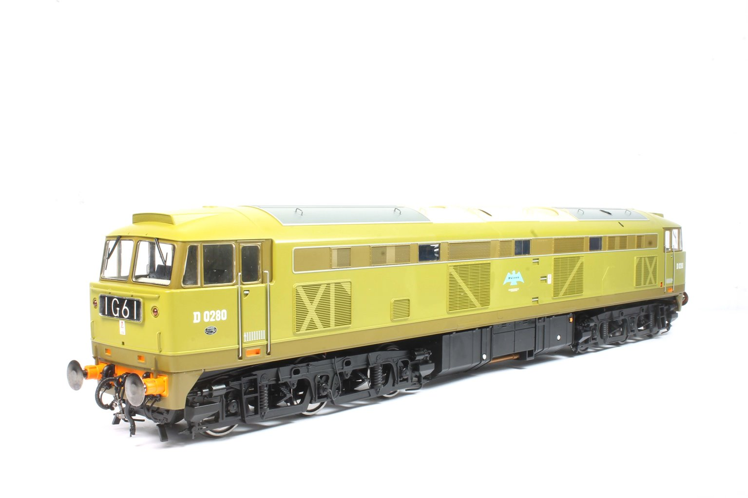 Class 53 D0280 FALCON in 'as-built' lime green and brown livery with original printed nameplates