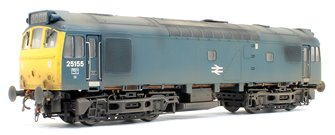 Class 25 155 (WR) BR Rail Blue with full yellow ends (single, central delve arrows) and headcode still in place (Weathered)