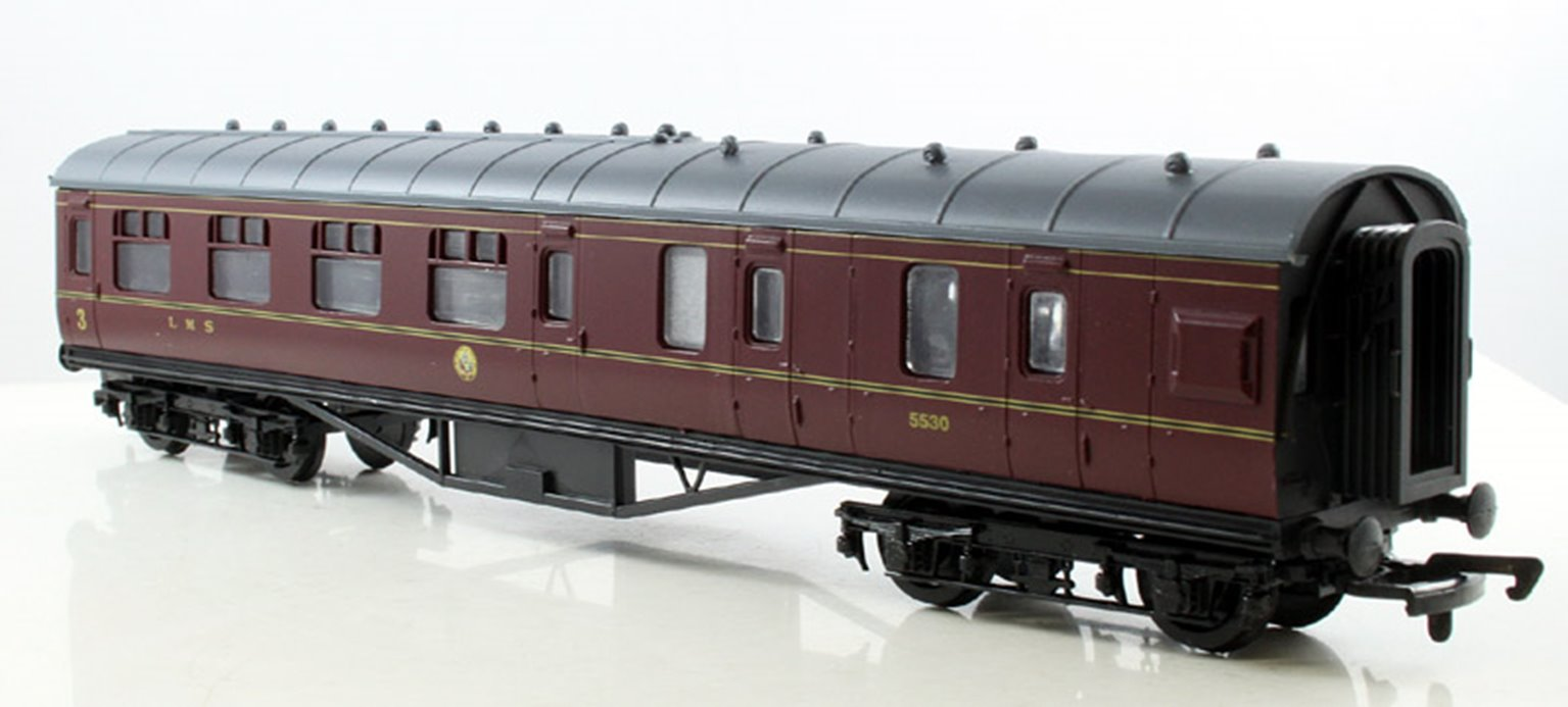 57ft Stanier Corridor Brake Coach LMS Lined Maroon #5530