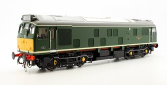 Class 25/1 in BR green with small yellow warning panels (unnumbered)