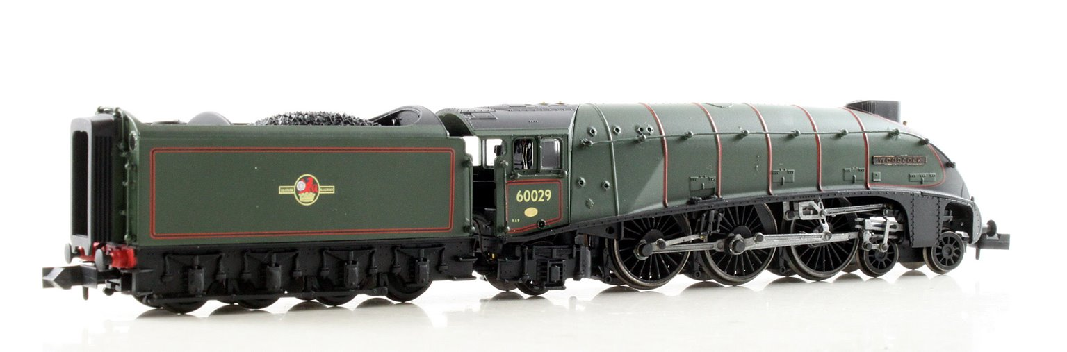 "Class A4 steam locomotive 60029 ""Woodcock"" in BR green with late crest"