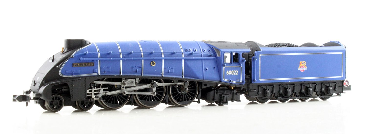 "Class A4 steam locomotive 60022 ""Mallard"" in BR dark blue with early crest & double chimney"