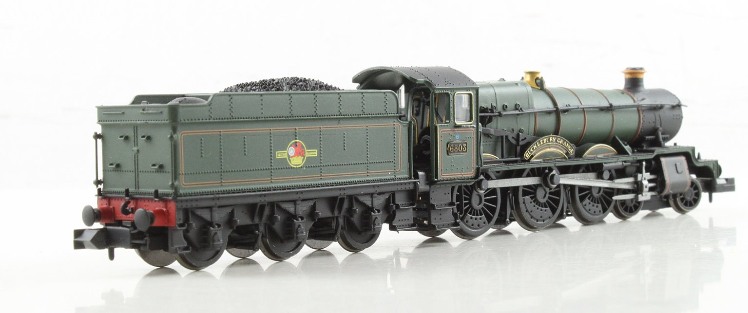 """Class 6800 4-6-0 6803 """"Bucklebury Grange"""" in BR lined green with late crest"""