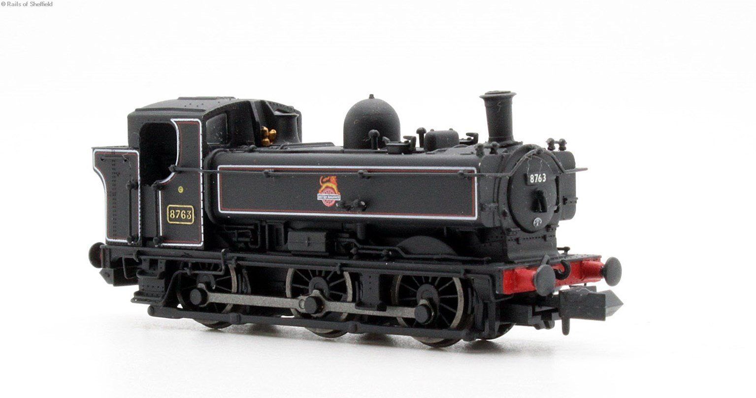 Class 57xx Pannier 0-6-0PT 8763 in BR lined black with early crest and later cab - DCC fitted