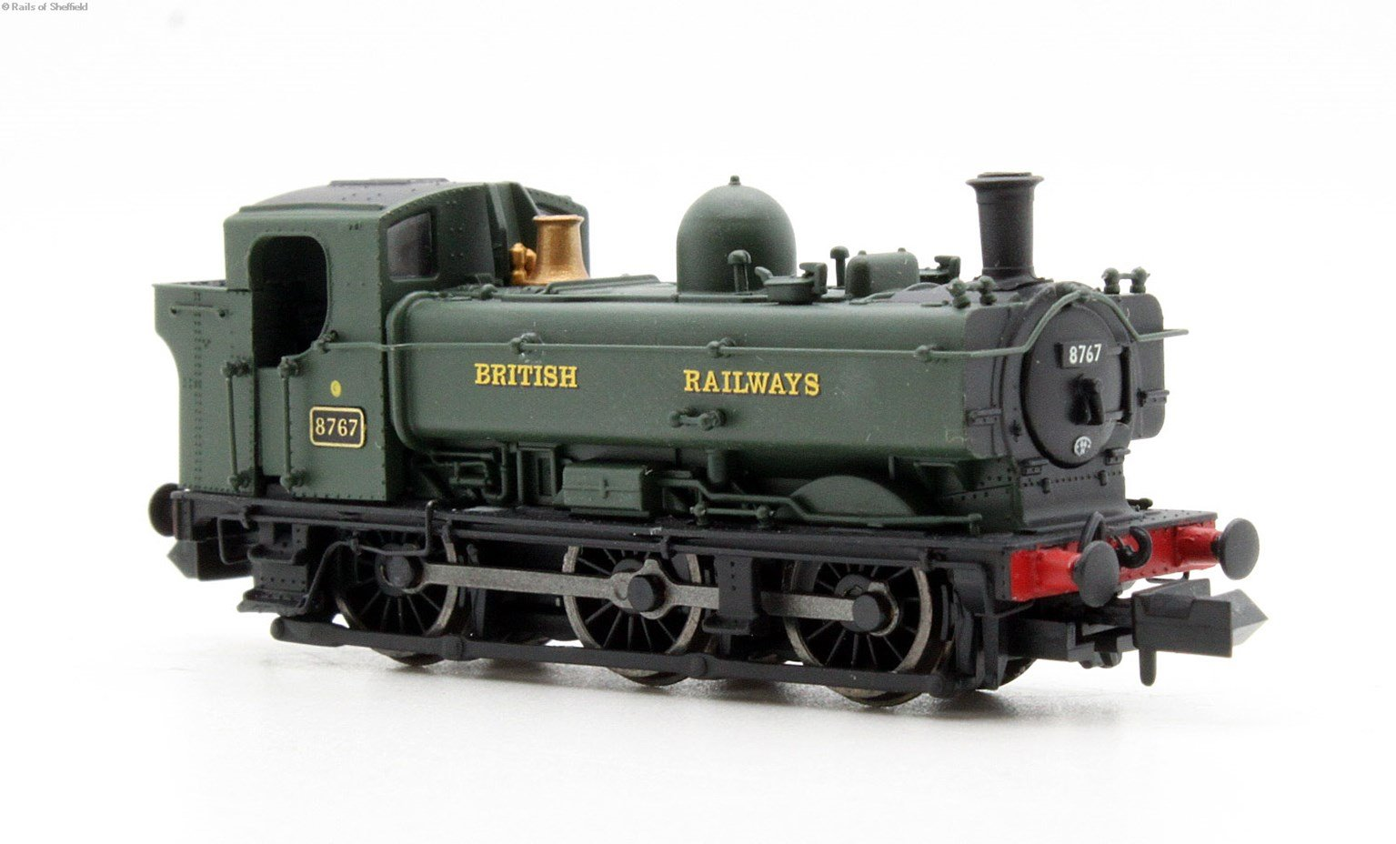 Class 57xx Pannier 0-6-0PT 8767 in BR green with British Railways lettering & later cab